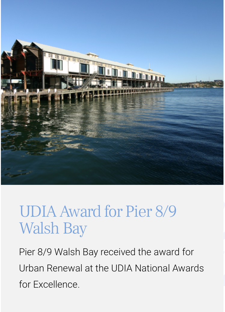 UDIA Award for Pier 8/9 Walsh Bay